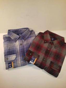 2 Men's George Flannel Shirts Size Medium Button Down Red/Gr