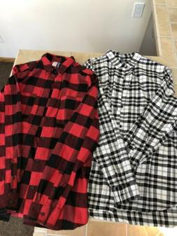 2 - Mens H&M Divided Flannel Button Up Shirts Large New