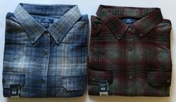 2 NEW George Big Men's 3XL Long Sleeve Flannel Shirt ~ 100%