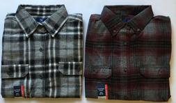 2 NEW George Mens Small Long Sleeve Flannel Shirt ~ 100% Cot