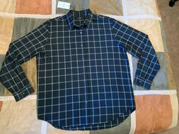 $245 Theory rammy bp black grid lightweight flannel l/s shir
