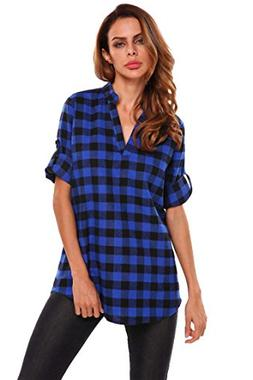 Zeagoo Women's 3/4 Cuffed Sleeve V-Neck Pullover Plaid Top T