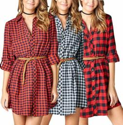 3/4 Rolled Up Plaid Cotton Flannel Button Down Belted Tunic