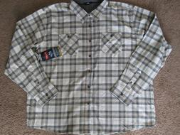 3XL 3TG WRANGLER BEIGE TAN GREEN PLAID FLANNEL SHIRT Brushed
