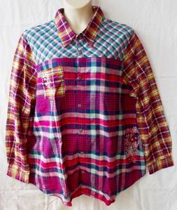 BLAIR 3XL NEW Nothing Matches Embroidered Plaid Flannel Shir