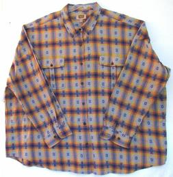 5XL Flannel Men's Shirt-Foundry Supply Co.-Gray Faded Denim