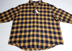 $60 IZOD 3XL Big Tall Flannel Plaid Button-Down Shirt Yellow