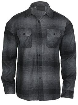 9 Crowns Men's Lightweight Plaid Flannel Shirt-No Hood Black