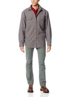Carhartt Men's Weathered Canvas Shirt Jacket Snap Front,Grav