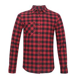 Deborri Men's Button Down Long Sleeve Plaid Flannel Shirt Re
