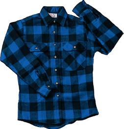 EXTRA HEAVYWEIGHT BRAWNY FLANNEL SHIRT - BLUE/BLACK SMALL