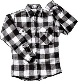 EXTRA HEAVYWEIGHT BRAWNY FLANNEL SHIRT - WHITE/BLACK XLARGE