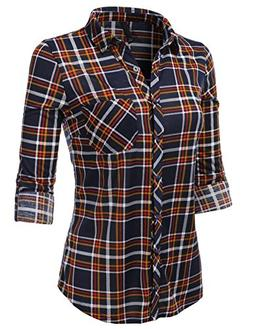 H2H Womens Basic Flannel Plaid Checker Button Down Roll Up a
