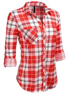H2H Womens Classic Flannel Plaid Checker Button Down Roll Up