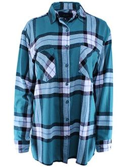 Ladies' Code Boyfriend Shirt Flannel Plaid Button Down Teal