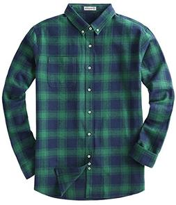 MOCOTONO Men's Long Sleeve Flannel Plaid Dress Shirt Western