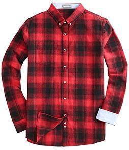 MOCOTONO Men's Long Sleeve Flannel Plaid Dress Shirt Western