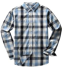 MOCOTONO Men's Long Sleeve Plaid Button Down Cotton Casual S