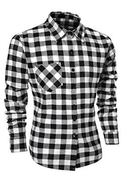 Mens Plaid Shirts, Fashion Casual Cotton Turn Down Collar Bu