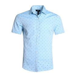 NUTEXROL Men's Regular-Fit Short-Sleeve Oxford Shirt Button