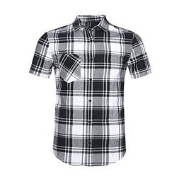 NUTEXROL Men's Western Slim Fit Cotton Short Sleeve Plaid Fl