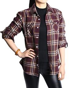 NUTEXROL Women's Casual Long Sleeve Cotton Flannel Plaid Shi