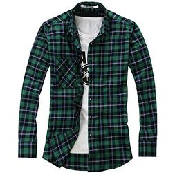 OCHENTA Men's Button Down Long Sleeve Plaid Flannel Shirt N1