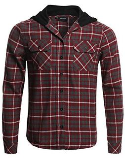 Plaid Flannel Long Sleeves Button Closure Detachable Hoodie
