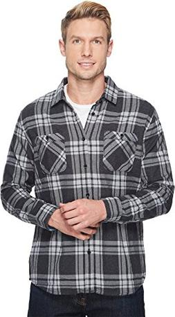 Quiksilver Waterman Men's Moon Tides Flannel Shirt, Black Mo