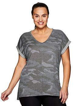 RBX Active Women's Plus Size Terry Short Sleeve V-Neck Tunic