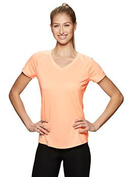RBX Active Women's Space Dye V-Neck Short Sleeve Top Orange