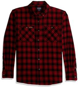 Smith's Workwear Men's 100% Cotton 4 oz Flannel Shirt, Red/B