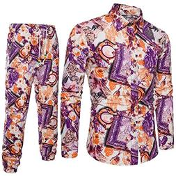 Tootless-Men Chinese Style Long Pants Western Shirt Printing