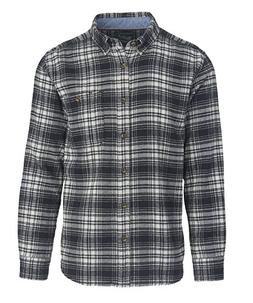 Woolrich Men's Trout Run Flannel Shirt, Black Hunt Plaid, La