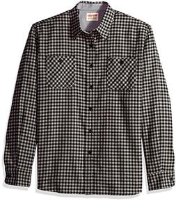 Wrangler Authentics Men's Long Sleeve Flannel Shirt, Caviar