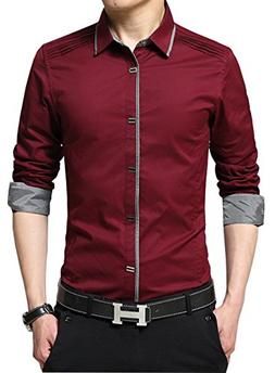 XTAPAN Men's Slim Fit Casual Long Sleeve Button Down French