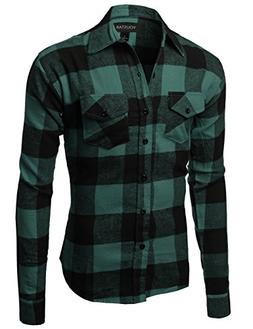 Youstar Flannel Plaid Checkerd Long Sleeve Tshirts Green Bla
