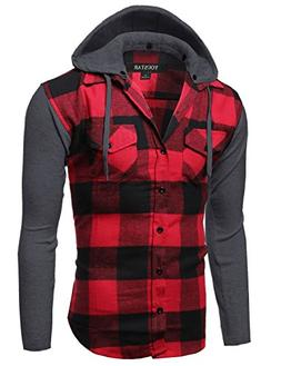 Youstar Plaid Checkered Detachable Hoodie Color Contrast Fla