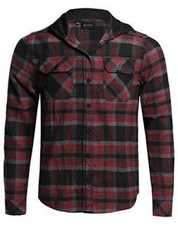 Youstar Plaid Flannel Long Sleeves Button Closure Detachable