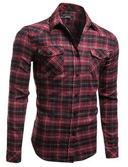 Youstar Scotch Plaid Flannel Long Sleeve Button Down Shirt B