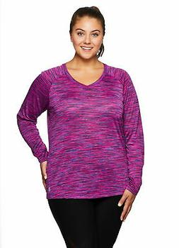 RBX Active Women's Plus Size Space Dye Long Sleeve V-Neck  S