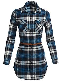 Awesome21 Adjustable Sleeve Button Down Flannel Tunic Shirts