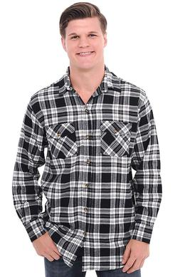 Alexander Del Rossa Mens Flannel Shirt, Long Sleeve Cotton T