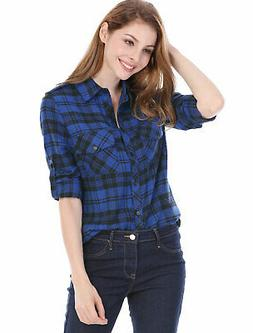 Allegra K Women Check Roll Up Sleeves Flap Pockets Brushed S