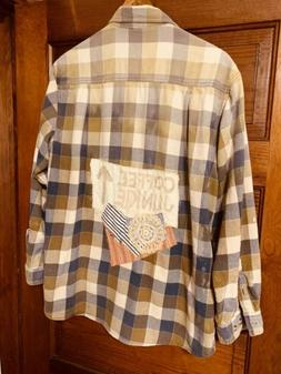 Artsy Unique Bleached Flannel Shirt L XL Boho Upcycled Coffe