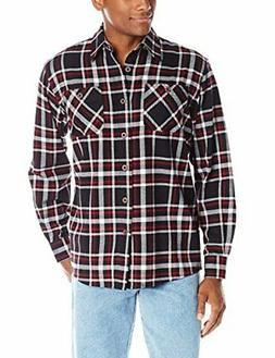 Wrangler Authentics Men's Long Sleeve Flannel Shirt, Caviar,