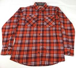 Wrangler Authentics Men's Long Sleeve Plaid Fleece Shirt, Re