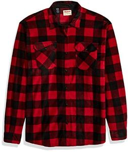 Wrangler Authentics Men's Long Sleeve Plaid Fleece Shirt, Re