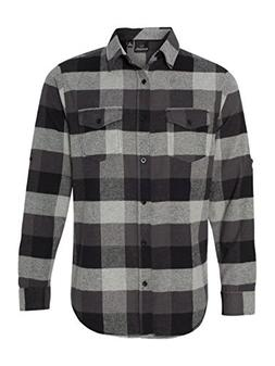 Burnside B8210 Men's Yarn-Dyed Long Sleeve Flannel Shirt Bla