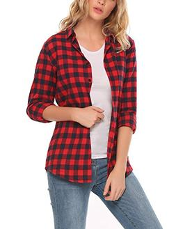 Zeagoo Womens Basic Long Sleeve Cotton Button Down Collared